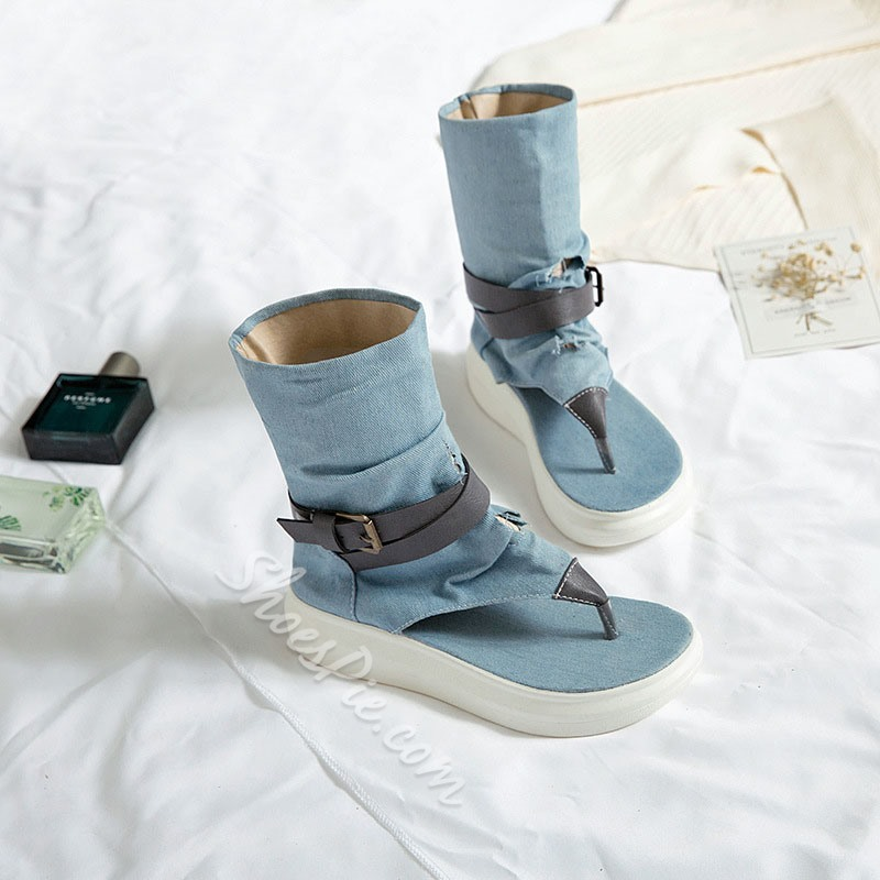 Shoespie Trendy Denim Patchwork Slip-On Thong Casual Boots