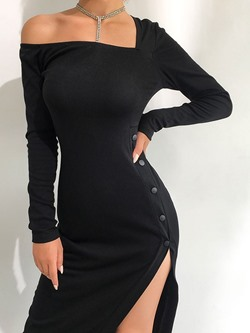 Sexy Asymmetric Square Neck Long Sleeve Split Women's Dress