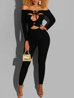 Sexy Hollow Lace-Up Off Shoulder Pencil Pants Women's Jumpsuit