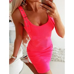 Sexy Rose U-Neck Sleeveless Bodycon Women's Dress