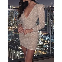 Elegant V-Neck Sequins Long Sleeve Bodycon Women's Dress