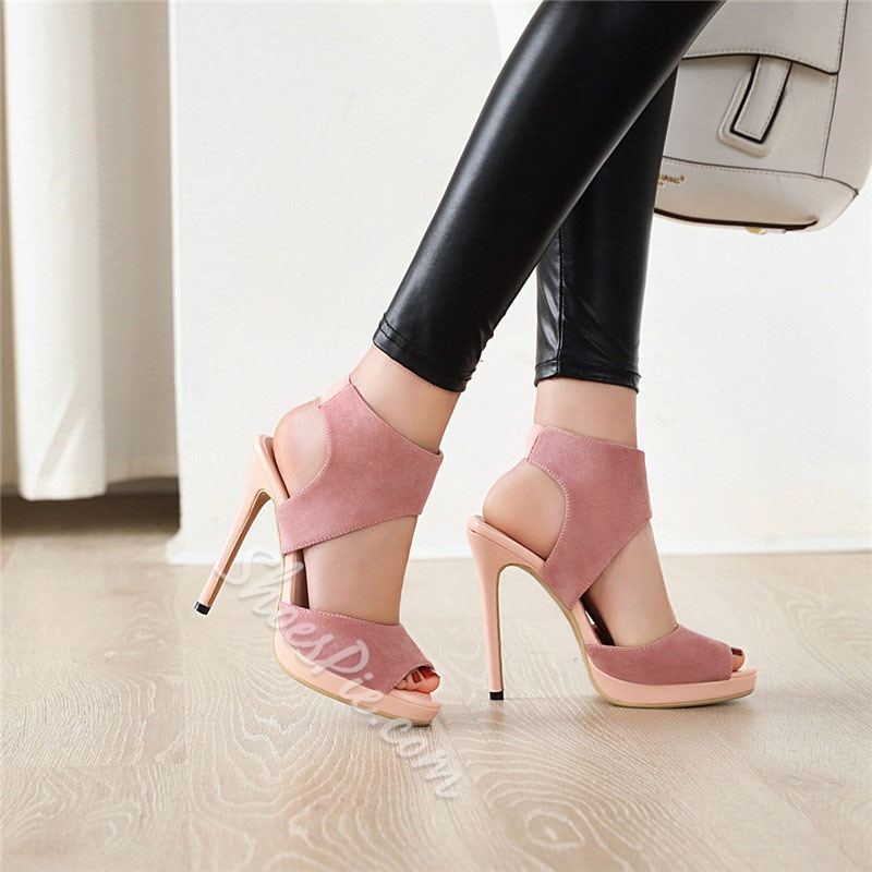 Shoespie Sexy Suede Peep Toe Stiletto Heel Slip-On Casual Sandals