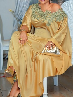 Elegant Golden Sequins Batwing Sleeve Floor-Length Loose Women's Dress