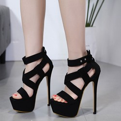 Shoespie Stylish Open Toe Heel Covering Zipper Platform Sandals