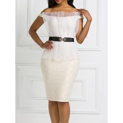 Ladylike Mesh Off Shoulder Short Sleeve Belt Bodycon Women's Dress