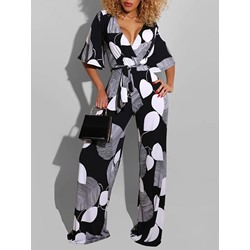 Color Block Full Length Casual Loose Women's Jumpsuit