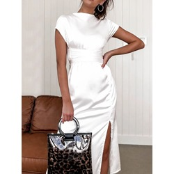 Stylish White Stand Collar Split Short Sleeve Women's Dress