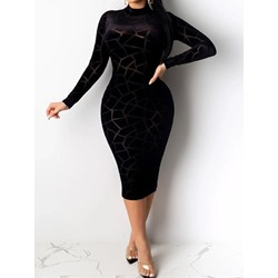 Black Sexy See-Through Stand Collar Long Sleeve Bodycon Women's Dress