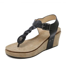 Shoespie Trendy Thong T-Shaped Buckle Plain Wedge Sandals