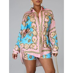 Stylish Print Lapel Single-Breasted Shirt Casual Shorts Women's Two Piece Sets