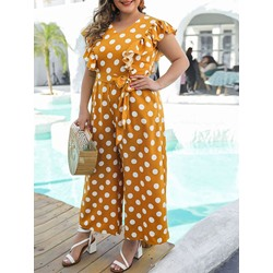 Casual Plus Size Falbala Polka Dots Wide Legs Loose Women's Jumpsuit
