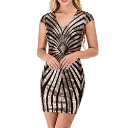 V-Neck Sequins Short Sleeve Bodycon Women's Dress