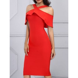 Red Cold Shoulder Short Sleeve Bodycon Women's Dress