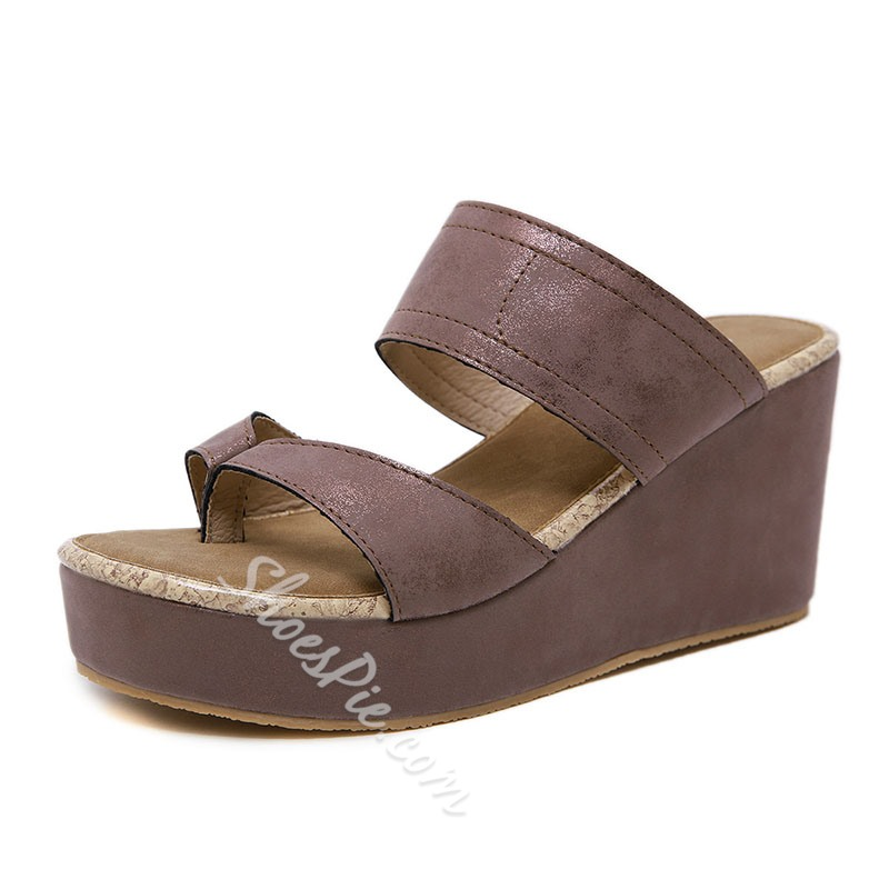 Shoespie PU Thong Slip-On Thread Casual Wedge Sandals