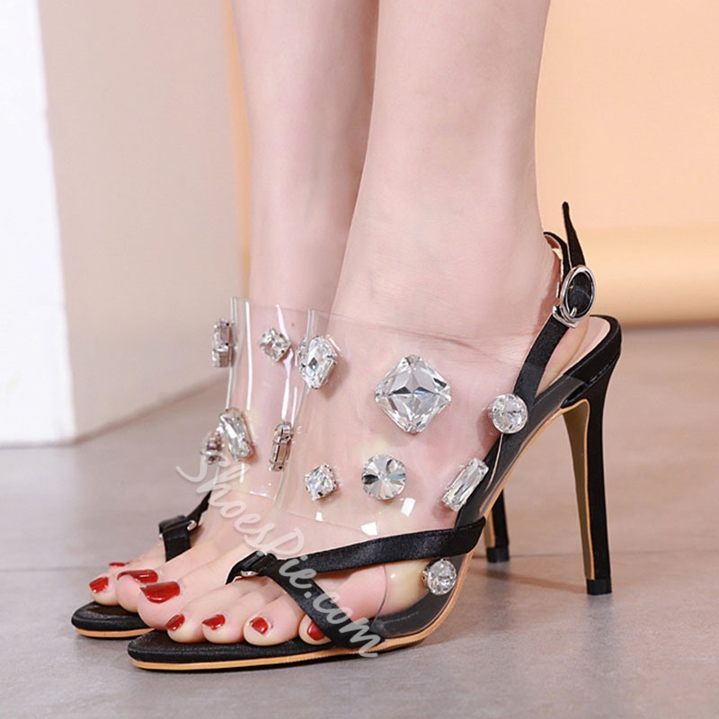 Shoespie Trendy Rhinestone Slip-On Thong Stiletto Heel Sandals
