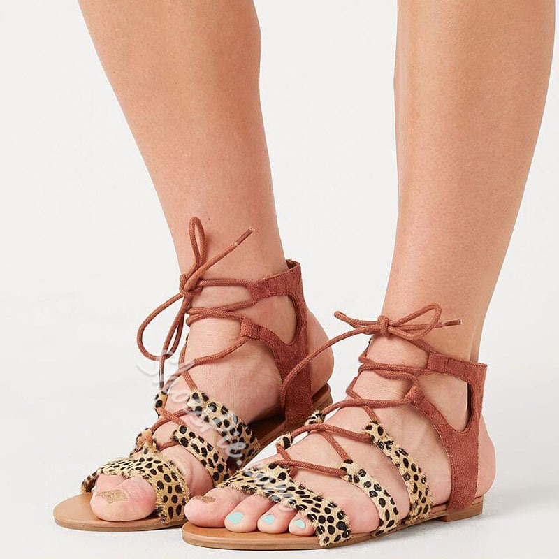 Shoespie Sexy Leopard Lace-Up Open Toe Flat Heel Thread Sandals