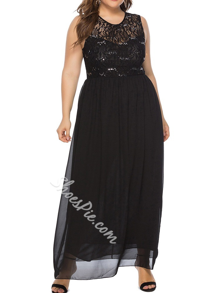 Plus Size Sequins Sleeveless See-Through Floor-Length Women's Dress