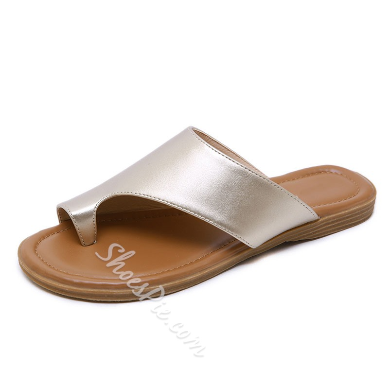 Shoespie Stylish Slip-On Thread Toe Ring TPR Flat Sandals