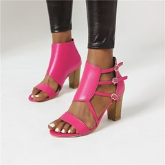 Shoespie Stylish Chunky Heel Open Toe Buckle Plain Sandals