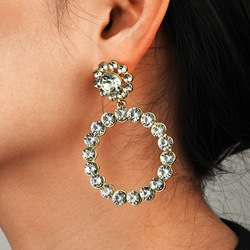 Alloy Sweet Diamante Wedding Earrings