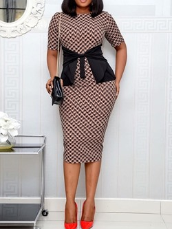Elegant Print Round Neck Short Sleeve High Waist Women's Dress
