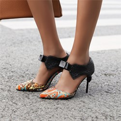 Shoespie Trendy Bow Heel Covering Pointed Toe Slip-On Thread Sandals