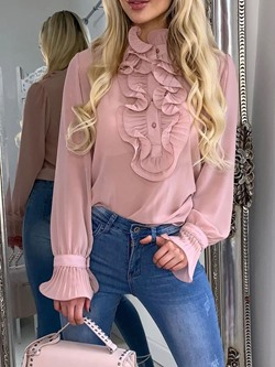 Sweet Pink Ruffled Collar Long Sleeve Women's Blouse
