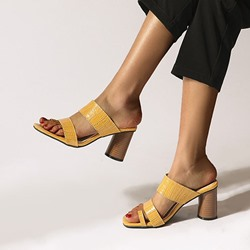 Shoespie Sexy Toe Ring Slip-On Chunky Heel Casual Mules Shoes