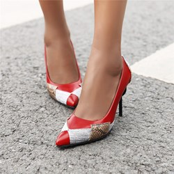 Shoespie PU Trendy Pointed Toe Color Block Thread Casual Stiletto Heels