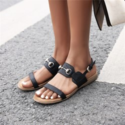Shoespie Stylish Flat Heel Open Toe Slip-On BuckleThread Sandals