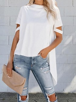 Casual Short Sleeve Round Neck Loose Swallowtail Women's T-Shirt