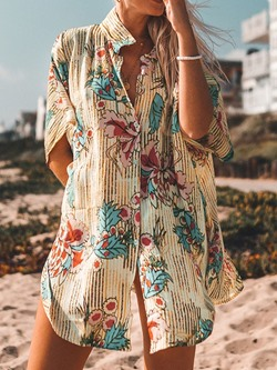 Stylish Floral Print Single-Breasted Loose Women's Blouse