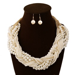 Woven Pearl Earrings Plain Party Jewelry Sets