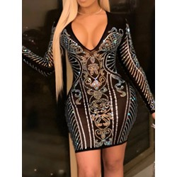 Sexy V-Neck Rhinestone Long Sleeve See-Through Women's Dress