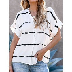 Casual Stripe Print Short Sleeve Single-Breasted Loose Women's Blouse