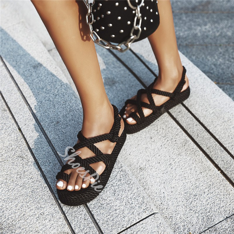 Shoespie Sexy Platform Toe Ring Slip-On Plain Flat Sandals