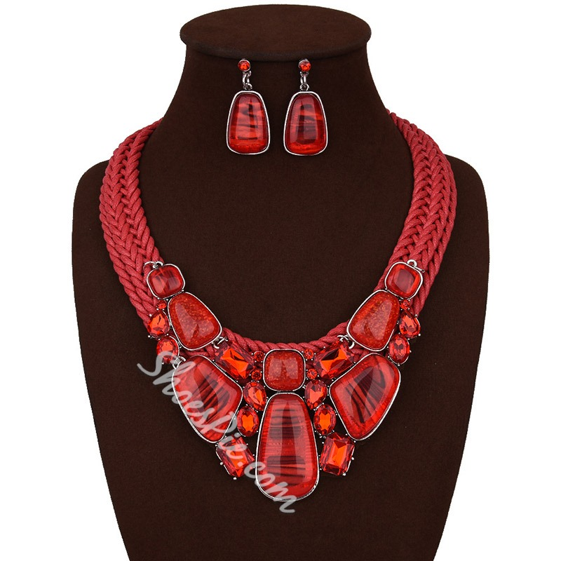 Woven Vintage Necklace Gift Jewelry Sets