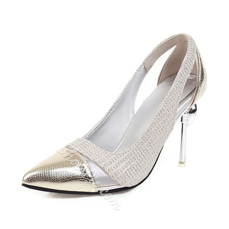 Shoespie Sexy Hollow Pointed Toe Slip-On Patchwork Stiletto Heels