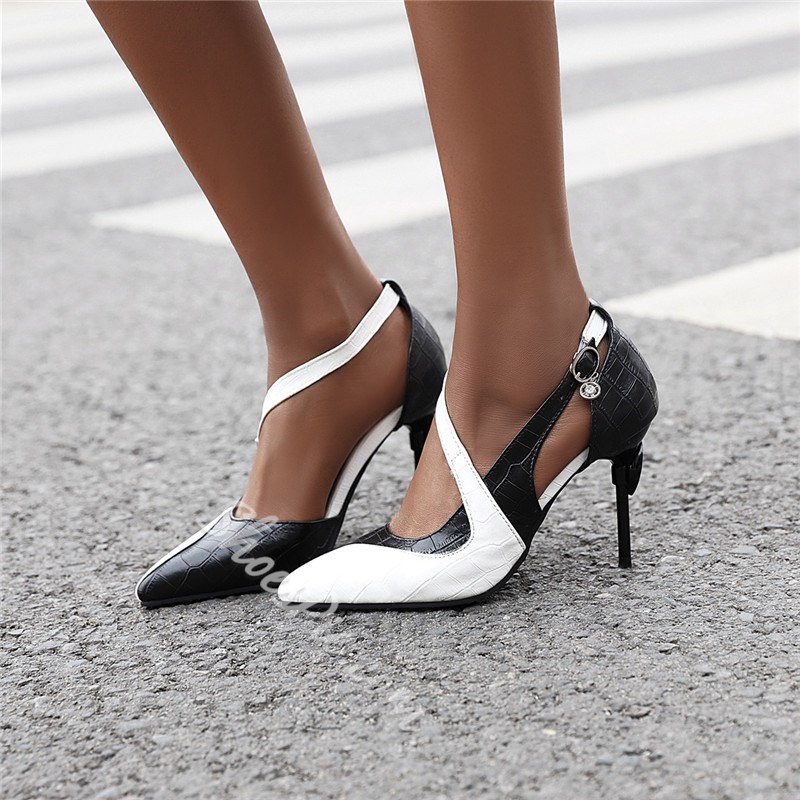 Shoespie Sexy PU Slip-On Hollow Color Block Pointed Toe Stiletto Heels