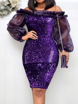 Sweet Stringy Selvedge Off Shoulder Sequins Bodycon Women's Dress