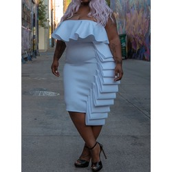 Plus Size Sexy Pleated Strapless Sleeveless Bodycon Women's Dress