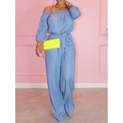 Casual Off Shoulder Long Sleeve Lace-Up Full Length Loose Women's Jumpsuit