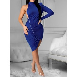 Sexy Zipper Split Asymmetric Pleated One-Shoulder Long Sleeve Women's Dress
