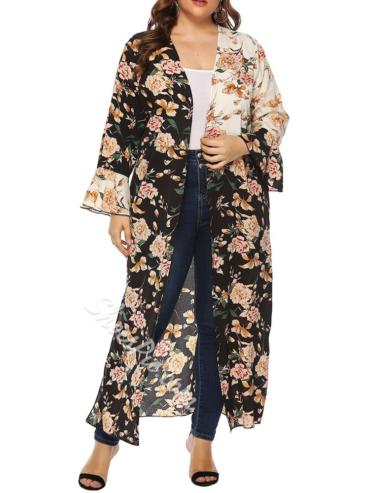 Plus Size Long Sleeve Floral Print Long Women's Trench Coat