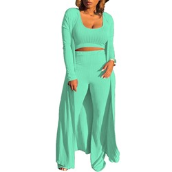 Casual U-Neck Sweater Floor-Length Pants Women's Two Piece Sets