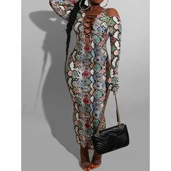 Sexy Hollow Serpentine Print Long Sleeve Women's Dress