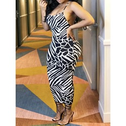 Sexy Spaghetti Strap Sleeveless Backless Zebra Stripe Women's Dress