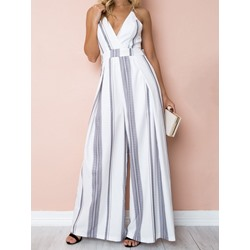 Full Length Stripe Casual Wide Legs Women's Jumpsuit