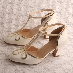 Shoespie Trendy Chunky Heel T-Shaped Buckle Heel Covering Thread Sandals