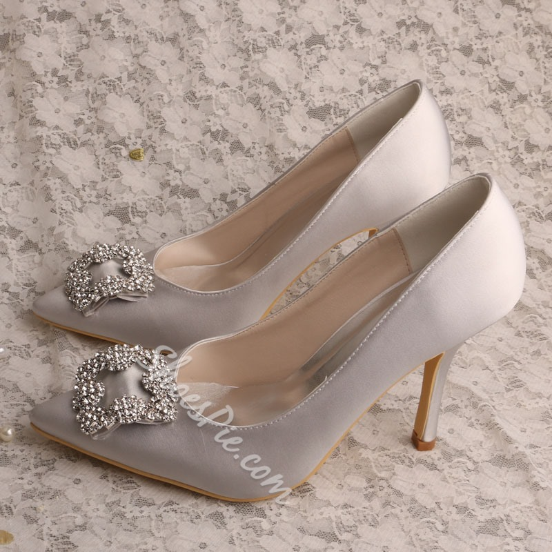 Shoespie Sexy Slip-On Rhinestone Stiletto Heel Bridal Shoes